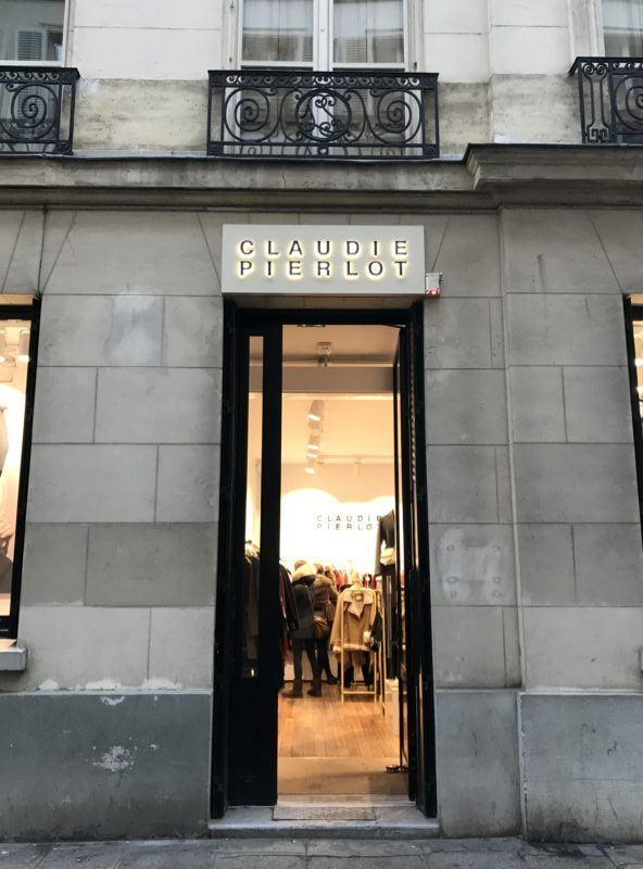 The entrance to Claudie Pierlot outlet shop in the Marais, Paris
