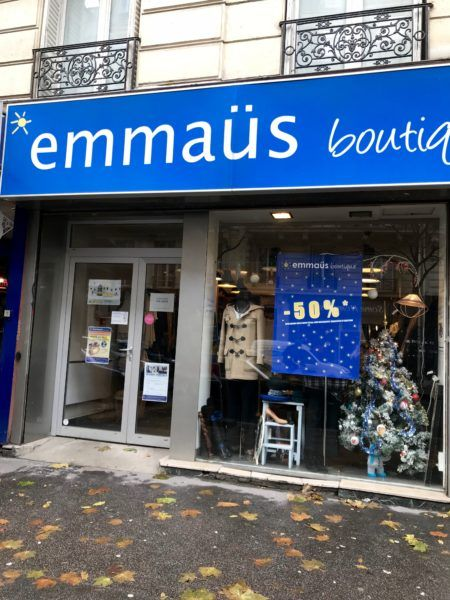 Emmaus Boutique in Paris-- a French thrift store, similar to what we in the US know as Goodwill.