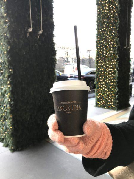 Angelina hot chocolate paris take out cup
