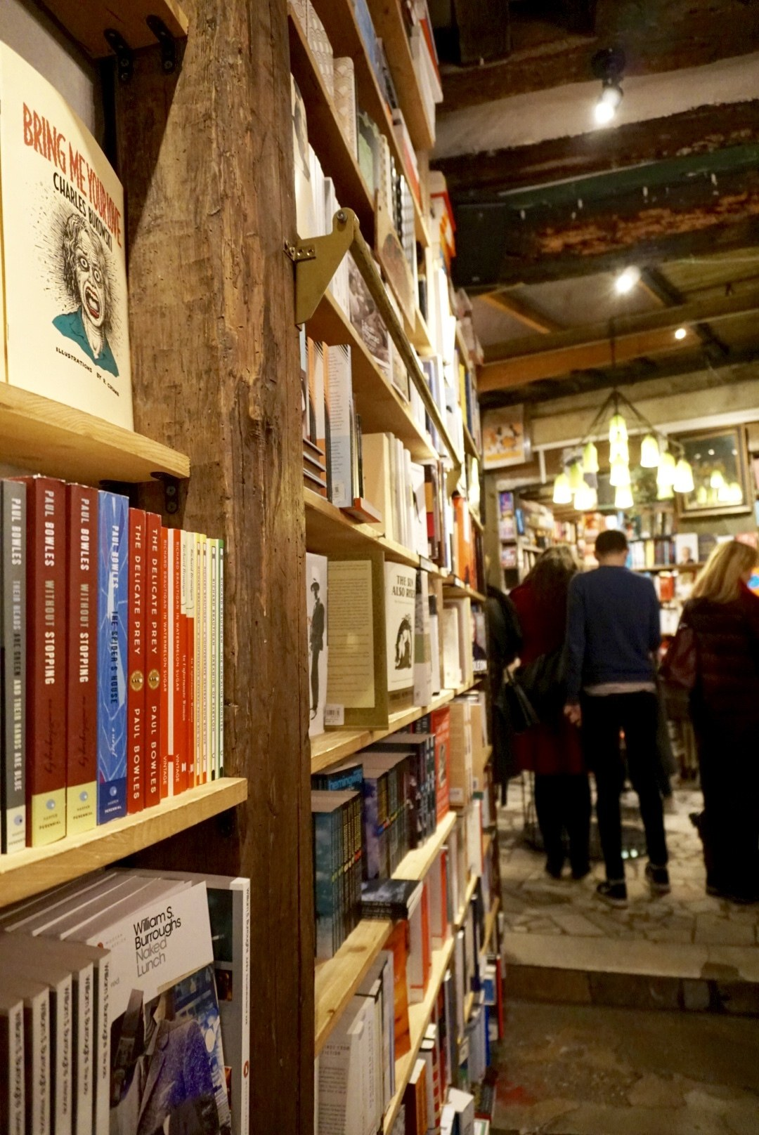 Shakespeare and company bookstore inside store shelves