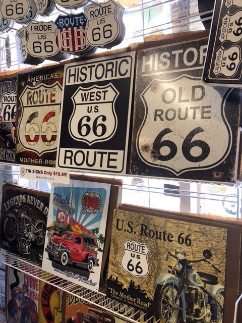 The top souvenir of Route 66- a road sign, real or replica.
