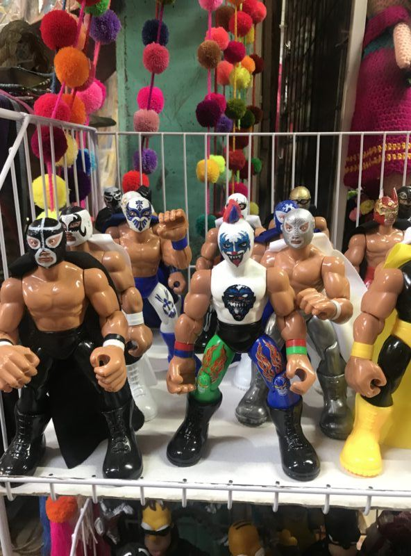 Mexican wrestlers toys bargain shopping