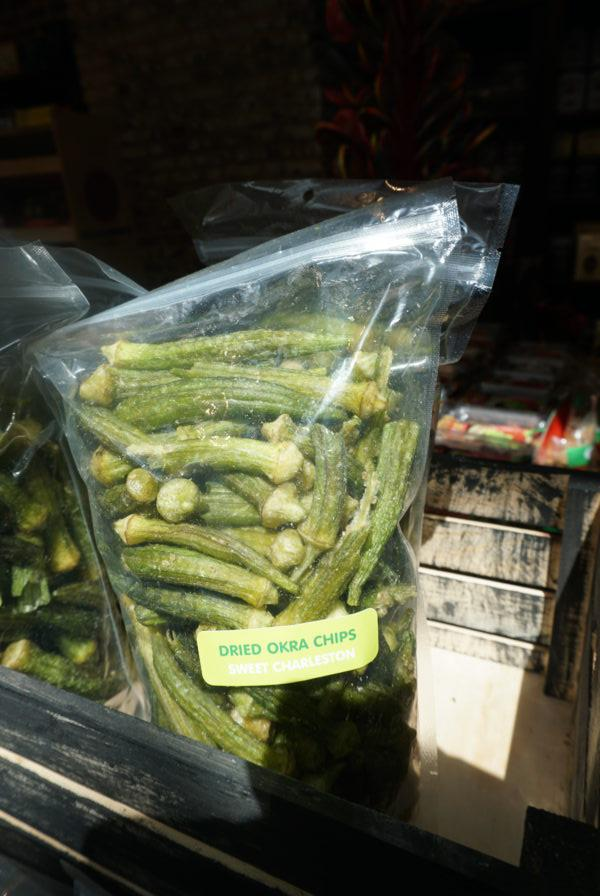 dried okra chips photo review tasty best, souvenir charleston city market