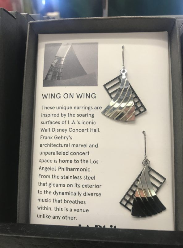 Gehry Walt Disney Concert Hall museum gift shop earrings souvenir