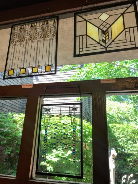 Frank Lloyd Wright inspired stained glass decal designs at gift shop in Oak Park, Illinois #chicago #architecture