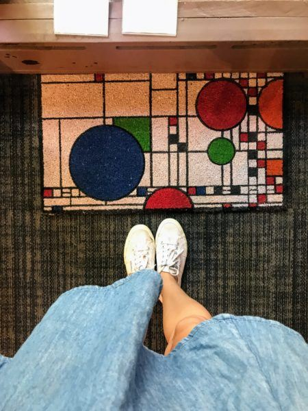 Frank Lloyd Wright inspired floor welcome mat at gift shop in Oak Park, Illinois #chicago #architecture