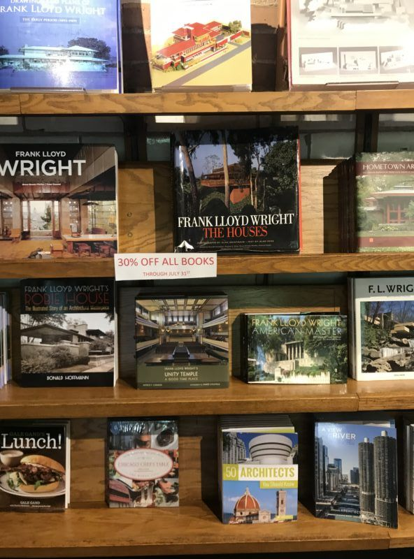 Frank Lloyd Wright design books at gift shop in Oak Park, Illinois #chicago #architecture
