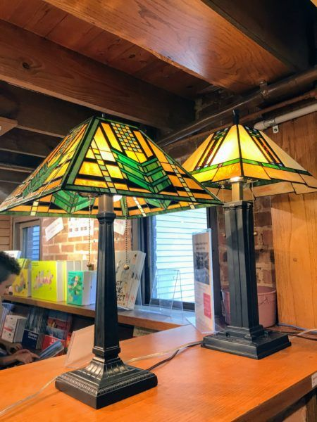 Frank Lloyd Wright lamp designs at gift shop in Oak Park, Illinois #chicago #architecture