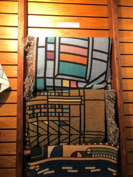 Frank Lloyd Wright inspired pillow designs at gift shop in Oak Park, Illinois #chicago #architecture